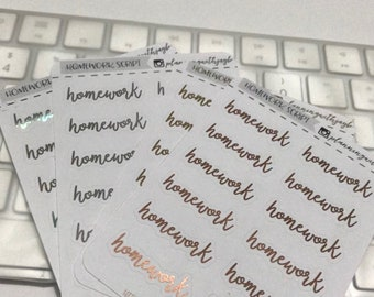 "Foiled planner stickers; hand lettered script ""homework"" functional icons/cliparts/stickers"