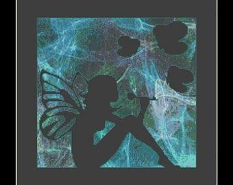 Fairy in a jar lantern cross stitch pdf download