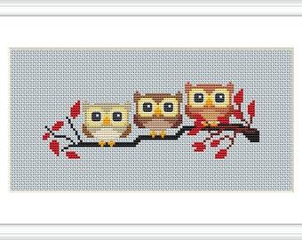 3owls bookmark 17x6cm cross stitch pattern  pdf download