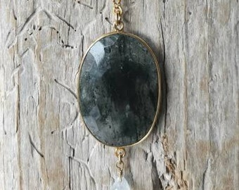 Long chain gold plated with a rutile quartz pendant