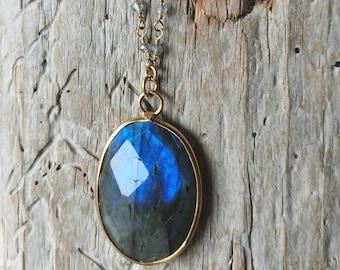 Petite long prayer necklace with labradorite and an oval labradorite pendant