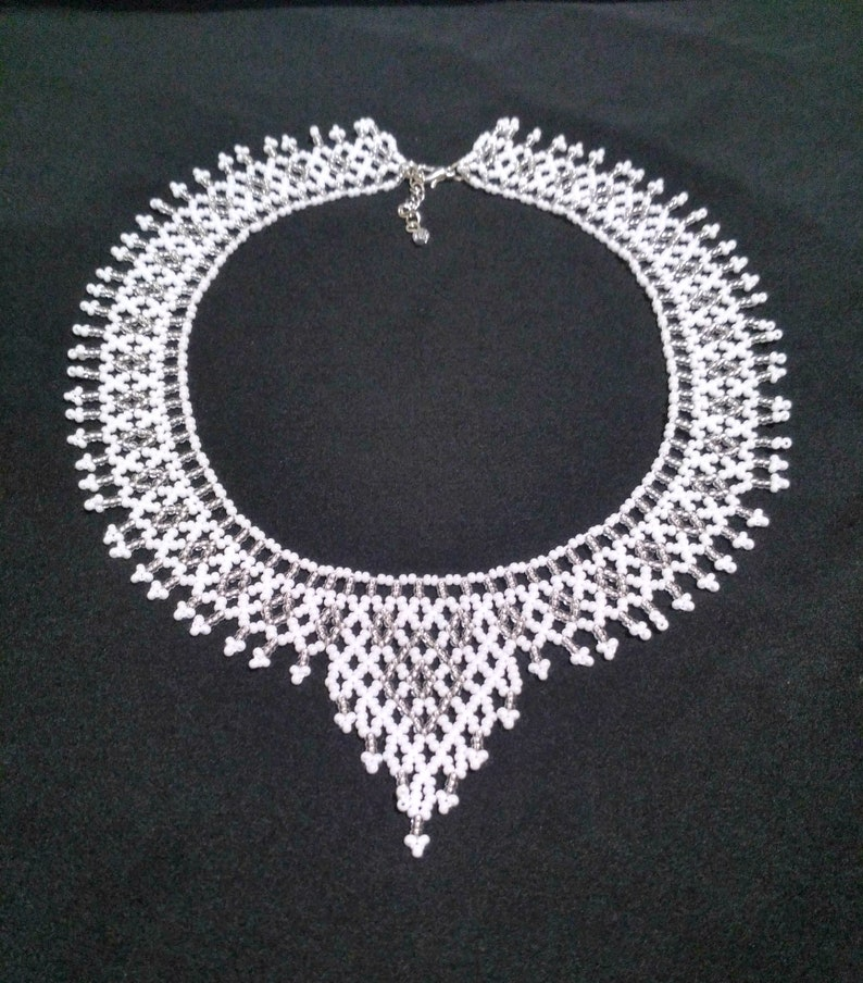 White bib necklaces for women Beaded necklace Beaded jewelry necklace