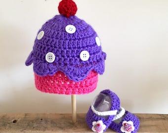 Lil Cupcakes Hat + Bootie Set