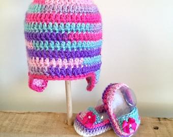 Cotton Candy Hat + Bootie Set