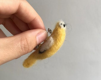 Needle Felted Yellow and White Bird Badge
