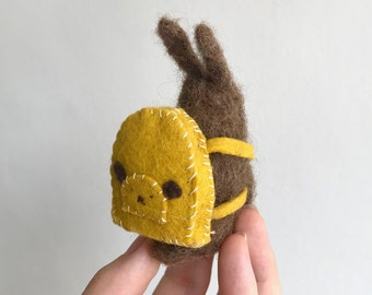 Needle Felted Bunny in a Backpack