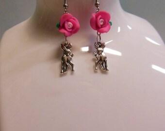 Baby Scuttlebutt Deer Earrings * Pink Floral Doe Fawn Hook Earrings