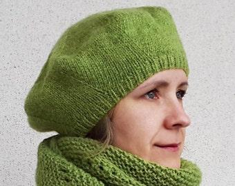dc6d2460fc7fa Knit beret women Ladies knitted beret Knit wool beret Green knit beret  Womens beret trendy Knit beret for lady Knit alpaca beret Merino wool