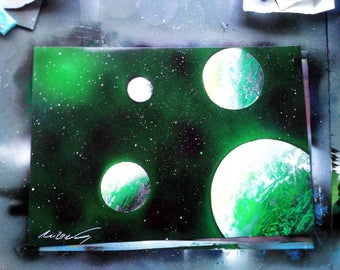 Green star spray paint art - space art - painting - galaxy - personalised gift