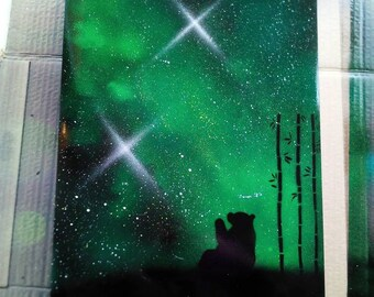 Wolf or panda with galaxy back drop spray paint art - personalised gift - Christmas and birthday gift ideas