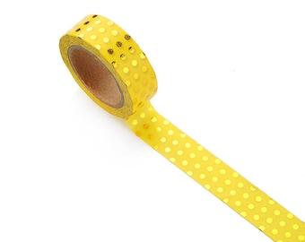 Yellow and Gold Foil Polka Dot Washi Tape