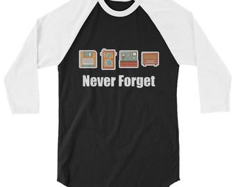 Never Forget Floppy Disk, Camera & Radio 3/4 Sleeve Raglan Baseball Shirt