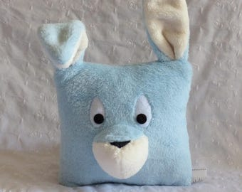 Sky blue and creamy white rabbit Plush Pillow