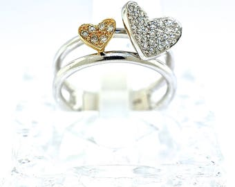 14k Two Tone Gold and Diamond Heart Ring. Size 5.75