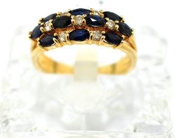14k Yellow Gold, Diamond, And Sapphire Ring. Size 6.25