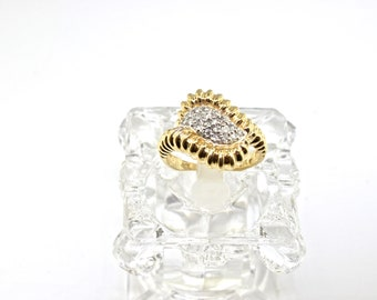14k Two Tone Diamond Ring. Size 5.75
