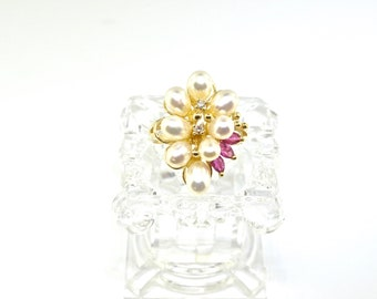14k Gold Diamond, Ruby And Pearl Ring. Size 7