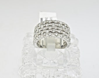 14K White Gold And Diamond Ring. Size 6