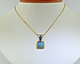 14k Yellow Gold And Australian Opal Necklace