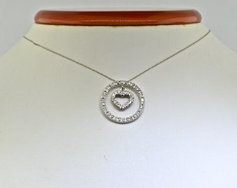 14k White Gold Circle Of Love Pendant With 10k White Gold Chain