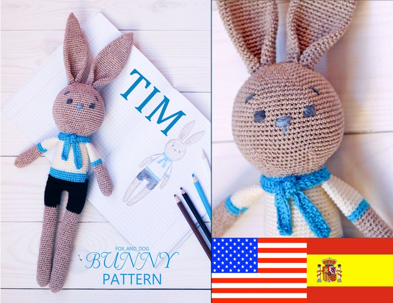 Crochet bunny with cheeks amigurumi pattern | Amiguroom Toys | 613x794
