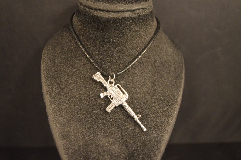 AK-47 AUTOMATIC RIFLE  Pendant Charm Necklace Silver tone  Fashion Jewelry   Brand New assault gun weapon defense hunting shooting