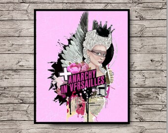 Anarchy 11x14 PRINT Original Painting Marie Antoinette Queen Angel Fairy Fashion Collage Art