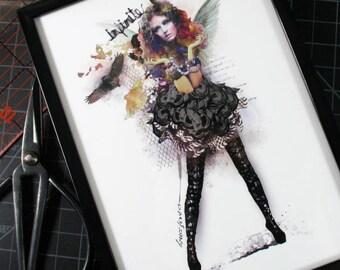 Infinite 5x7 Original Collage Art FRAMED Print Paper Doll Fairy Angel Editorial Fashion Art