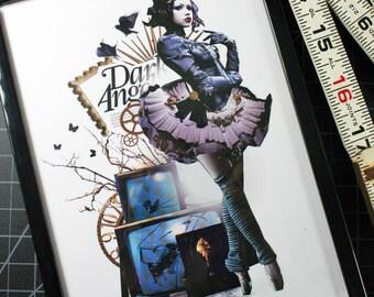 Dark Angel 5x7 Original Collage Art FRAMED Print Paper Doll Ballerina Steampunk Angel Fashion Art