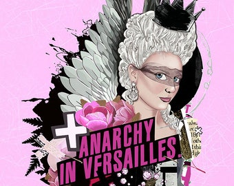 Anarchy 8x10 Original Painting Art Print Marie Antoinette Queen Angel Fairy Fashion Collage Art