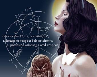 Reverence 8x10 Art Print Fairy Tale Black Hair Woman with Owl Fantasy Fashion Art