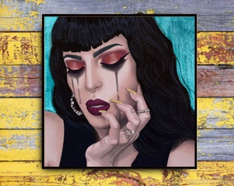 Ezme 10x10 Art Print Unique Black Hair Woman Tears Makeup Tattoos Fashion Art