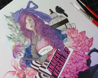 Versailles Wonderland 8.5x11 Art Print Marie Antoinette Alice in Wonderland Whimsical Doll Fashion Fantasy Art Painting