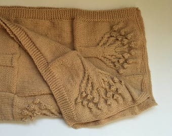 Large hand knitted tree baby blanket