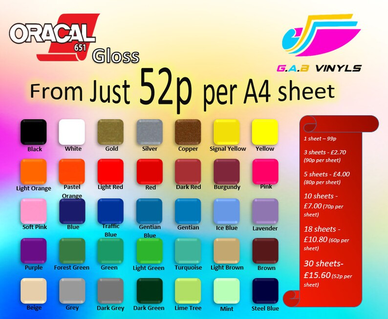 A4 sheets-Oracal 651 Polymeric Self Adhesive Gloss Vinyl  Cricut/Silhouette/Cameo/Brother Scan and Cut