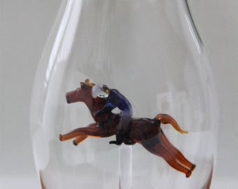 Equestrian gifts. Horse lovergifts,  for horse lover, Equestrian decor, horse fanatic, horse decor, glass horse jockey present jockey gifts