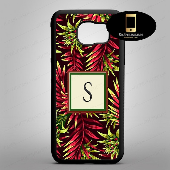 detailed look cced4 f643c Tropical Hibiscus Personalised Initial Monogram Phone Case Personalized  Custom Phone Case Cover Samsung Galaxy Models S5, S6, S7, S8 And S9