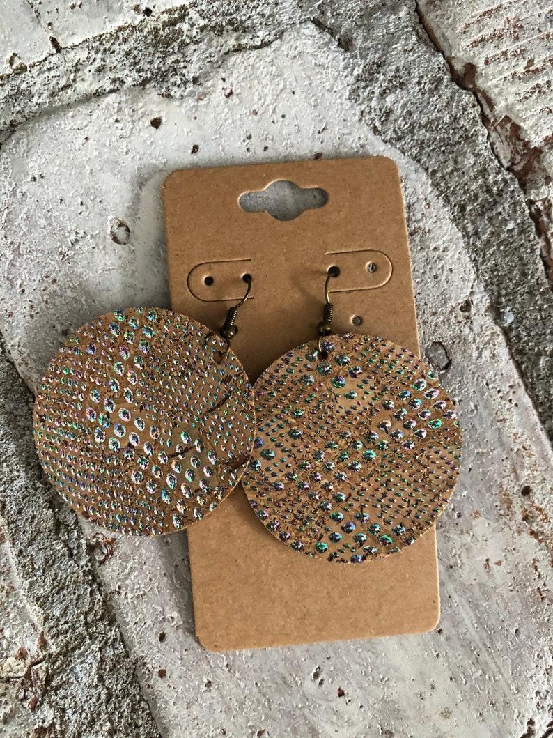 Vegan Friendly Earrings Boho Chic Mother of Pearl Shimmer Cork Earrings