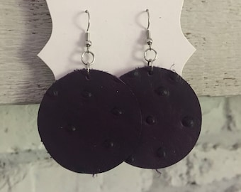 Leather Circle Earrings