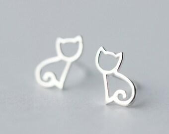 35c49c1c1 silver earrings, stud earrings, cat earrings, adorable earrings, animal  design, handmade earrings,tiny earrings, delicate earrings, everyday