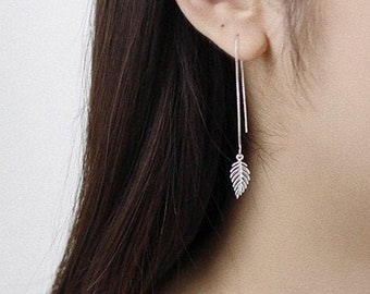 Long Threader 925 Sterling Silver and Copper Drop Earrings Gift Boxed