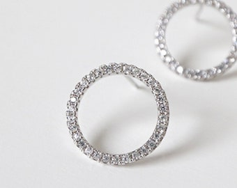 5d0897377 Zirconia Circle Stud Earrings, Sterling Silver, Tiny Zirconia Simple Circle  Earrings, Minimalist Earrings, Modern Gift, XIEandCOJewellery