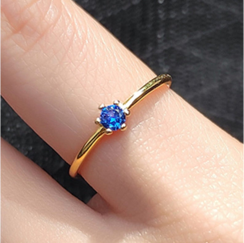 everyday Stackable Gold Ring modern delicate jewelry edgy dainty ring Silver Zircon Ring Adjustable Blue Ring handmade gifts for her