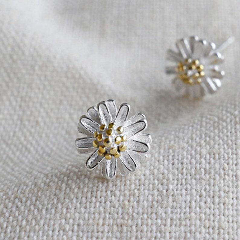 c9521de7fb1c2b Daisy Stud Earrings Silver Earrings English Flower Stud | Etsy