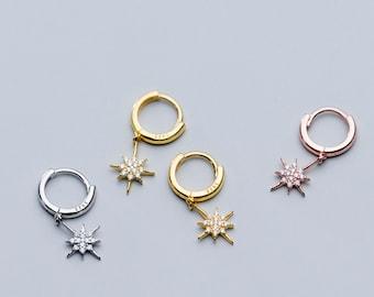 Sterling Silver Star Small Hoop Earrings, Rose Gold Earrings, Gold Hoops, Star Earrings, Delicate Jewellery, Everyday Earrings, Gifts or Her