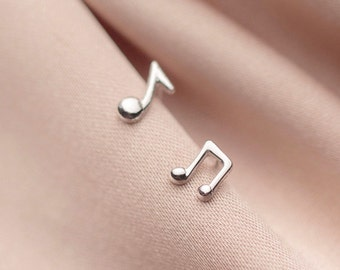 Musical Note Sterling Silver Stud Earrings, Asymmetrical Earring Pair, Silver Small Stud, Tiny Earrings, Gifts For Her, Gifts For Friends