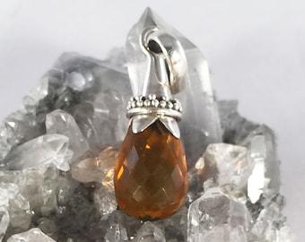 Solid 925 Sterling Silver Amber Orange Faceted Glass Briolette Drop Pendant