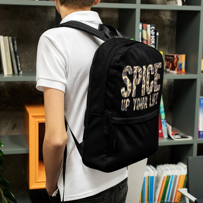 Spice Up Your Life Leopard Print Black Backpack
