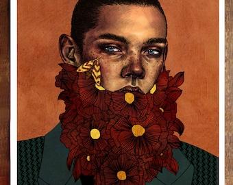 Fine art print, imprimé fleur portrait, flower affiche illustration, artwork moth decoration, wall deco A4, cadeau signed, drawing gold or