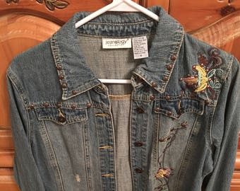 Vintage Jean Jacket with Embroidered Flowers Size 8